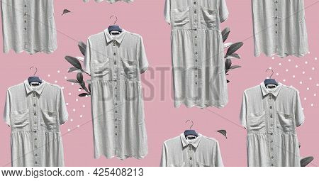 Pattern Of Loose Linen Shirt Dress With Pockets Short Sleeve On Hanger. Composition Of Clothes. Coll