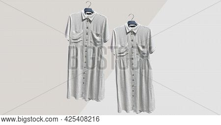 Loose Linen Shirt Dress With Pockets Short Sleeve On Hanger. Composition Of Clothes. Collage Sale Cl