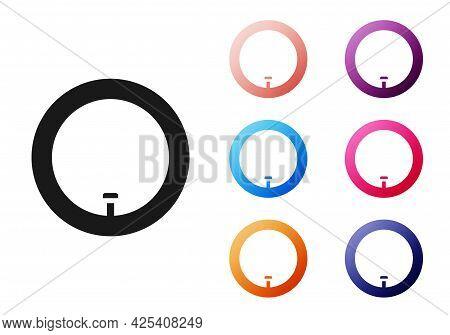 Black Bicycle Wheel Icon Isolated On White Background. Bike Race. Wheel Tire Air. Sport Equipment. S