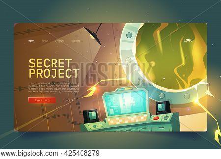 Secret Project Cartoon Landing Page. Underground Bunker Or Scientific Laboratory And Glowing Plasma