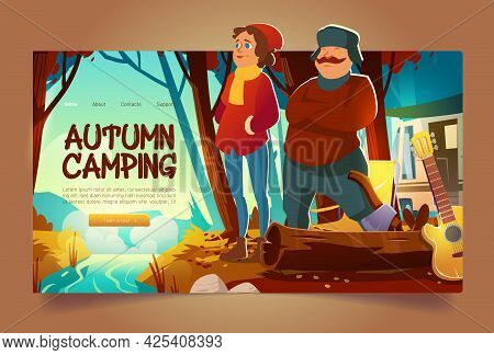 Autumn Camping Website With Forest Landscape With Brook And People. Vector Landing Page With Cartoon