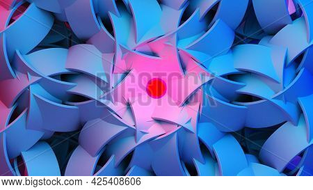 Scientific Or Technology Abstractions With Rings Ornament Flying In Surreal Symmetric Structure Arou