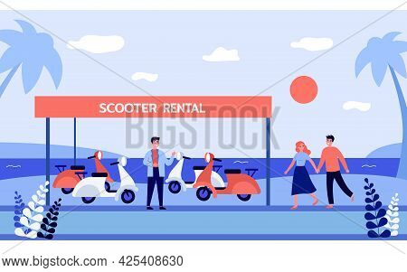 Cute Couple Renting Scooter On Beach. Salesman In Front Of Scooter Rental Banner At Seaside, Man And