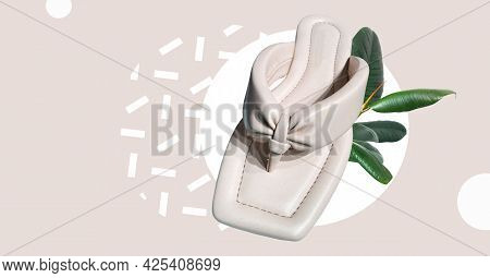 Elegant Fashionable Summer Quilted Flat Sandals. Quilted Straps With Toe Divider. Stylish Women's Sa
