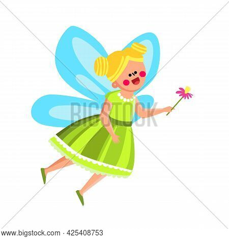 Fairy Girl In Beautiful Costume With Flower Vector. Happy Attractive Fairy Girl Wearing Suit With Wi