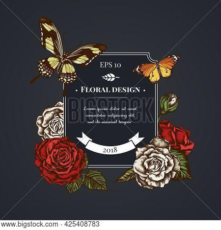 Dark Badge Design With Plain Tiger, Papilio Torquatus, Roses Stock Illustration