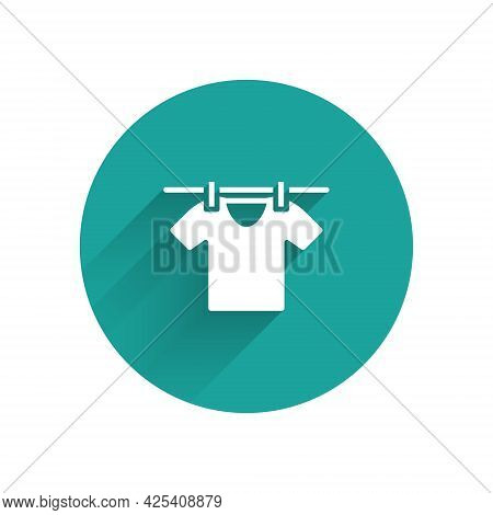 White Drying Clothes Icon Isolated With Long Shadow. Clean Shirt. Wash Clothes On A Rope With Clothe