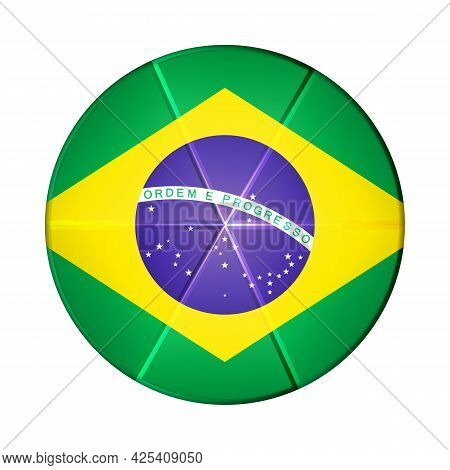 Glass Light Ball With Flag Of Brazil. Round Sphere, Template Icon. Brazilian National Symbol. Glossy
