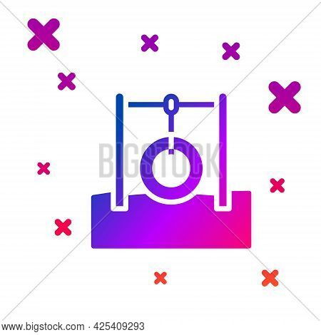 Color Car Tire Hanging On Rope Icon Isolated On White Background. Playground Equipment With Hanging