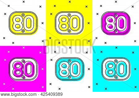 Set 80s Retro Icon Isolated On Color Background. Eighties Poster. Vector