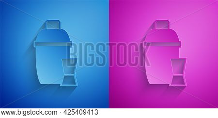 Paper Cut Cocktail Shaker With Cocktail Glass Icon Isolated On Blue And Purple Background. Paper Art