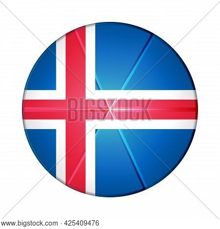 Glass Light Ball With Flag Of Iceland. Round Sphere, Template Icon. Icelandic National Symbol. Gloss