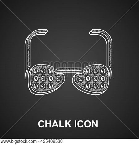 Chalk Glasses For The Blind And Visually Impaired Icon Isolated On Black Background. Vector