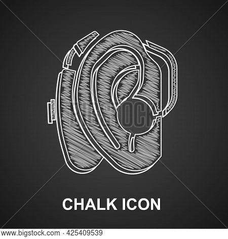 Chalk Hearing Aid Icon Isolated On Black Background. Hearing And Ear. Vector