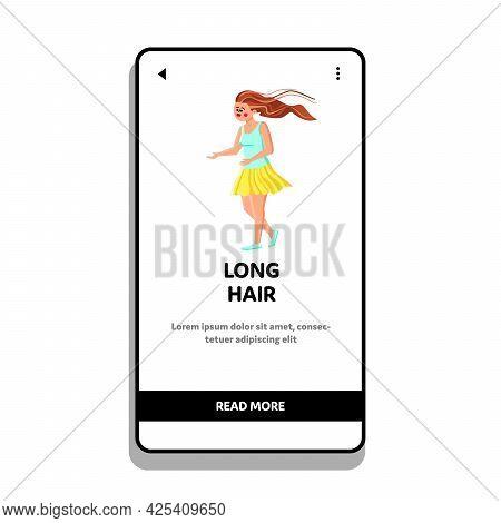 Long Hair Of Woman Waving On Windy Street Vector. Attractive Young Girl With Beautiful Brunette Long