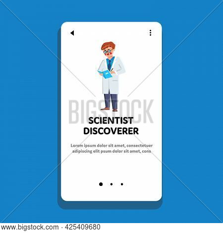Scientist Discoverer Noting Test Result Vector. Obese Scientist Discoverer Analyzing Experiment And