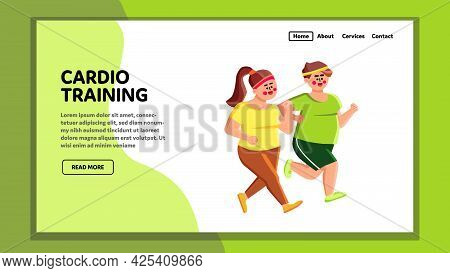 Cardio Training Overweight Man And Woman Vector. Young Obesity Boy And Girl Running Together And Mak