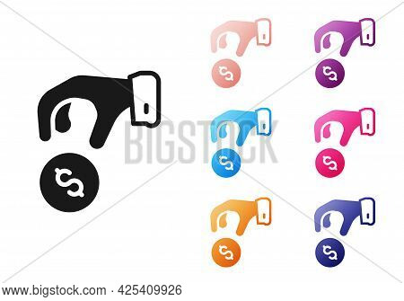 Black Donate Or Pay Your Zakat As Muslim Obligatory Icon Isolated On White Background. Muslim Charit