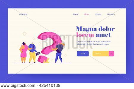 Puzzled Tiny Business People Searching Solution At Huge Question Mark, Asking For Help. Vector Illus