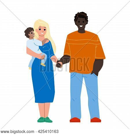Happiness Mixed Family Standing Together Vector. African Man Husband, Caucasian Woman Wife And Child