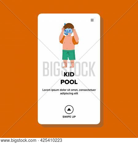 In Kid Pool Resting Small Boy In Swimwear Vector. Preteen Child With Diving Facial Mask And Snorkel