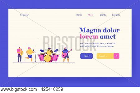 School Concert Vector Illustration. Diverse Band Of Teenage Musicians Playing Instruments, Children