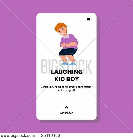 Laughing Kid Boy On Kindergarten Playground Vector. Laughing Kid Boy From Funny Joke, Joyful And Che