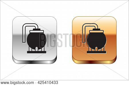 Black Oil Tank Storage Icon Isolated On White Background. Vessel Tank For Oil And Gas Industrial. Oi