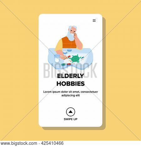 Hobbies Of Elderly Man In Nursing Home Vector. Grandfather Leisure Time And Hobbies Activity, Senior
