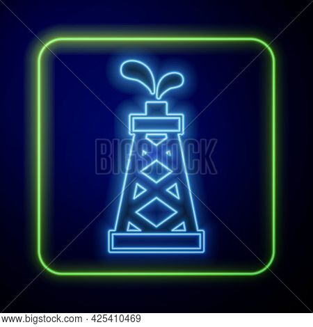 Glowing Neon Oil Rig Icon Isolated On Blue Background. Gas Tower. Industrial Object. Vector
