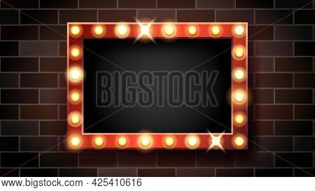 Broadway Signboard With Lighting Lamps Vector. Blank Broadway Advertise Banner With Glowing Lightbul
