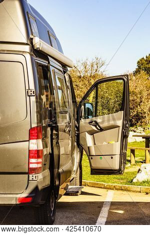 Camper Car Rv Camping On Nature, Spain. Adventure With Motor Home.