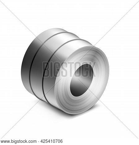 Steel Sheet Roll Industry Plant Production Vector. Aluminium Roll Metallurgy Industrial Factory Meta