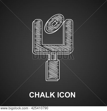 Chalk American Football Goal Post And Football Ball Icon Isolated On Black Background. Vector