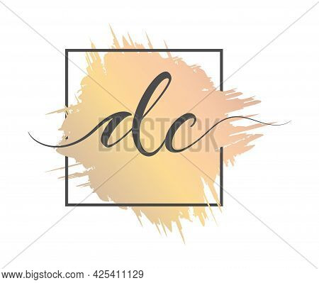 Calligraphic Lowercase Letters Dc Are Written In A Solid Line On A Colored Background In A Frame. Ve