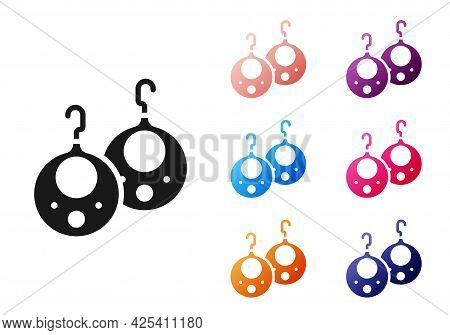 Black Earrings Icon Isolated On White Background. Jewelry Accessories. Set Icons Colorful. Vector