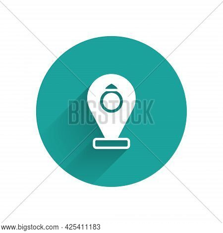 White Front Facade Building Jewelry Store Icon Isolated With Long Shadow Background. Green Circle Bu