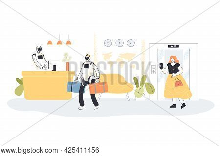 Robotic Receptionists Meeting Guest At Hotel. Flat Vector Illustration. Girl Taking Pictures Of Robo