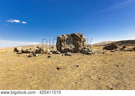 Tarkhatinsky Megalithic Complex Consists Of Stone Blocks. It Is Ancient Archaeological Monument In C