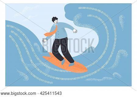 Businessman Surfing On Internet Wave. Flat Vector Illustration. Man Exploring Virtual World With Bin