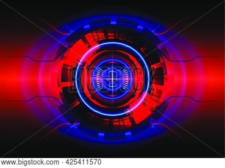 Red And Blue Light. Abstract Hi-tech Background. Futuristic Interface. Virtual Reality Technology Sc