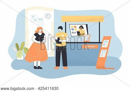Cartoon Woman At Trade Show Flat Vector Illustration. Business Lady Talking With Company Representat