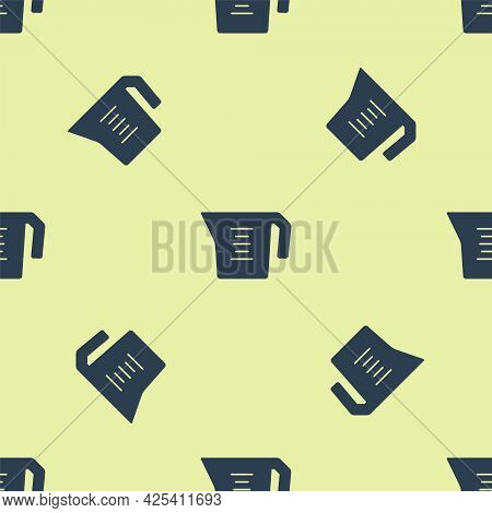Blue Measuring Cup To Measure Dry And Liquid Food Icon Isolated Seamless Pattern On Yellow Backgroun