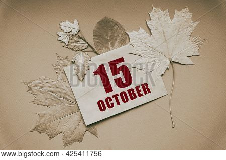 October 15. 15th Day Of Month, Calendar Date.envelope With The Date And Month, Surrounded By Autumn