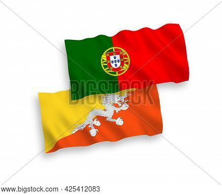 National Fabric Wave Flags Of Portugal And Kingdom Of Bhutan Isolated On White Background. 1 To 2 Pr