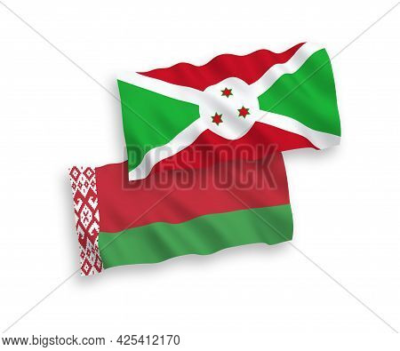 National Fabric Wave Flags Of Burundi And Belarus Isolated On White Background. 1 To 2 Proportion.