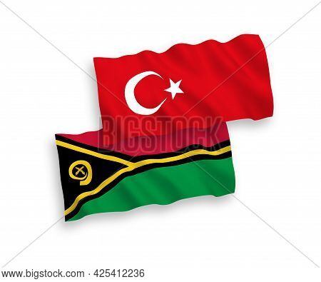National Fabric Wave Flags Of Turkey And Republic Of Vanuatu Isolated On White Background. 1 To 2 Pr