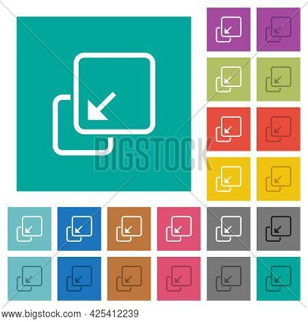 Collapse Element Multi Colored Flat Icons On Plain Square Backgrounds. Included White And Darker Ico