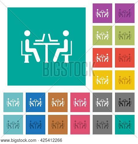 Internet Cafe Multi Colored Flat Icons On Plain Square Backgrounds. Included White And Darker Icon V