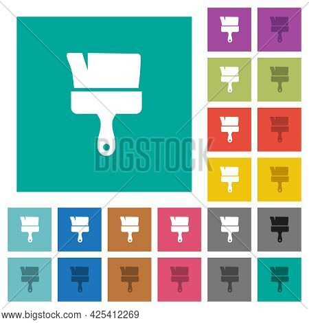 Paint Brush Multi Colored Flat Icons On Plain Square Backgrounds. Included White And Darker Icon Var